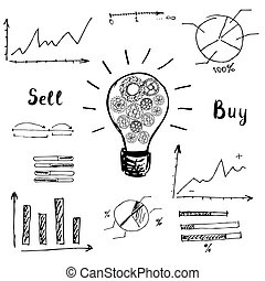 graphs and charts. The idea of the concept of buying and selling.