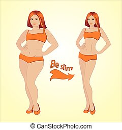 Fat and slim woman, vector illustration