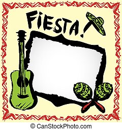 mexican fiesta frame with sombrero's, maracas and guitar -...