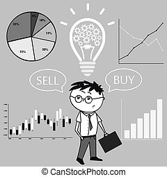 Businessman and graphs and charts. The idea of the concept of buying and selling.