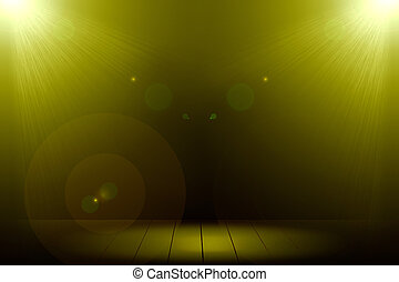 Abstract image of gold lighting flare 2 spotlight on wood...