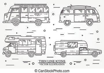 Set of cars for camping.  Car and camper set.  Summer trip family travel concept.   For web design and application interface, also useful for infographics. Vector dark grey.