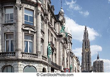 Old building in the city of Antwerp, Belgium