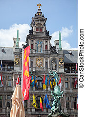 Houses on Grote Markt in the Antwepen, Belgium