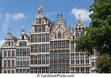Facades of Guild buildings in the Grote Markt square in old...