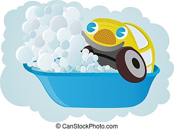 Washable car - A small passenger car washes in the bathroom.