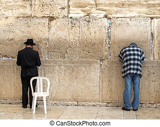 Two Jews Praying at the Kotel - Two Jews, one orthodox and...