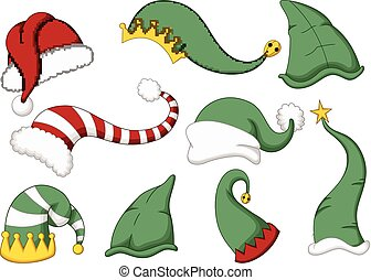 cute collection of santa hat cartoo - vector illustration of...
