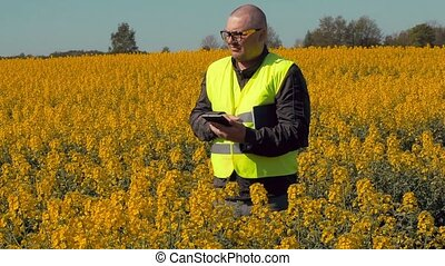 Farmer on rape field thinking