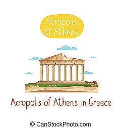 Landmarks concept. Travel the world. Vector. - Acropolis of...