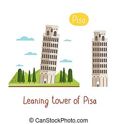 Landmarks concept. Travel the world. Vector. - Leaning tower...