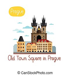 Landmarks concept. Travel the world. Vector. - Old Town...