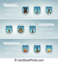Travel the world. Monument concept. - Traveling by plane....