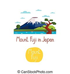 Landmarks concept. Travel the world. Vector. - Mount Fuji in...