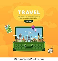 Travel the world Monument concept Road trip - Open suitcase...