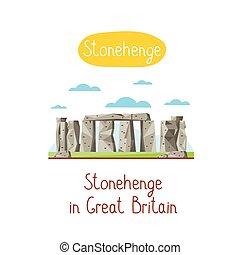 Landmarks concept. Travel the world. Vector. - Stonehenge in...
