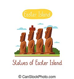 Landmarks concept. Travel the world. Vector. - Statues of...