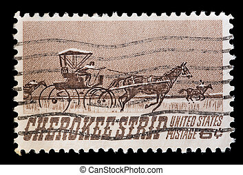 United States used postage stamp showing Cherokee Strip of...