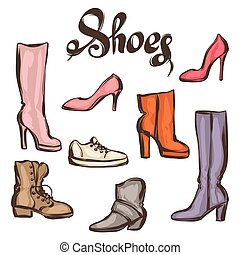 Set of various shoes. Hand drawn illustration female...