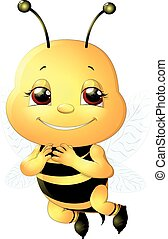 bee on a white background - funny bee painted on a white...