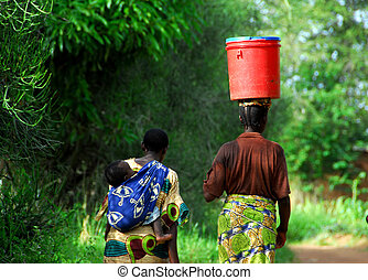 African women walking