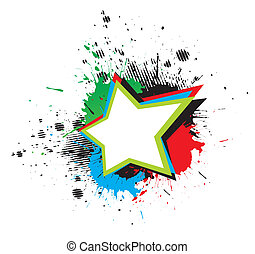 grunge star - color grunge star & wings on white background,...