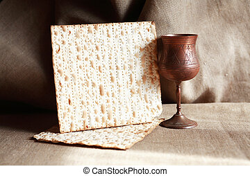Matzoh Near Wineglass - Seder concept. Still life with...