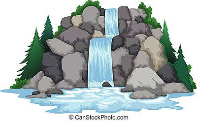 waterfall with landscape view - vector illustration of...