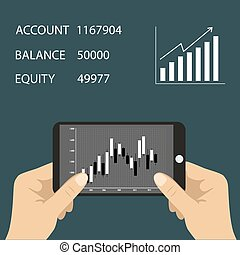 Smart phone with business graph in hand Forex index, economy...