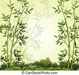 beautiful bamboo forest background - vector illustration of...