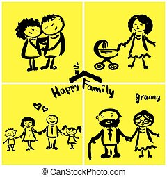 Happy family, hand drawing.
