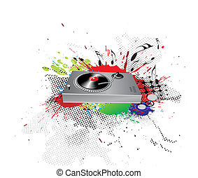 ink spat background - Turntable on grunge-rainbow ink spat...