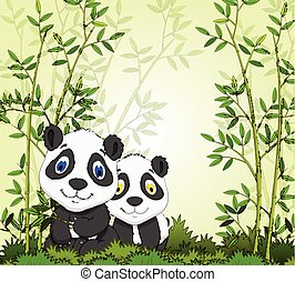 cartoon panda with bamboo forest - vector illustration of...