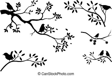 collection of tree silhouette with