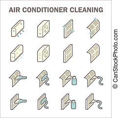 Air conditioner cleaning vector icon sets design