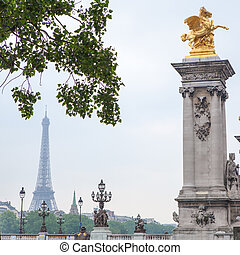 Alexander III bridge in Paris - Alexandre III bridge and...