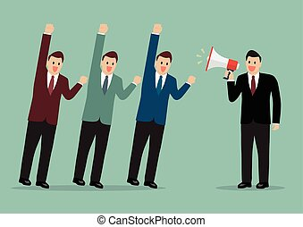 Businessman with a megaphone leading the business business...