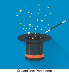 Abracadabra cartoon concept. Magic wand with stars sparks...