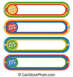 Four colored frames for any text with icon of smart city