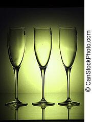 green champain glases - dark green glases studio shot