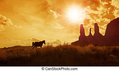 silhouette of horses grazing in monument valley
