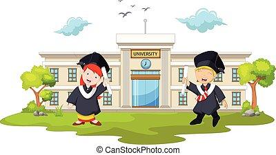 graduation celebration - vector illustration of graduation...