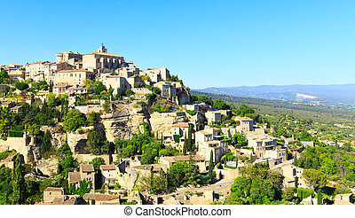 view of hilltop village Gordes, France