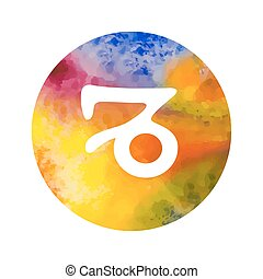 Sign of the zodiac Capricorn on watercolor background. Free...