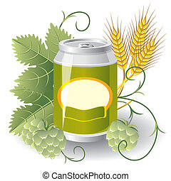 can of beer - aluminum can of beer surrounded by hops and...
