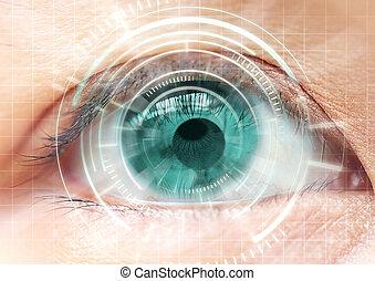 Women eye cataract, contact lens, futuristic, digital,...