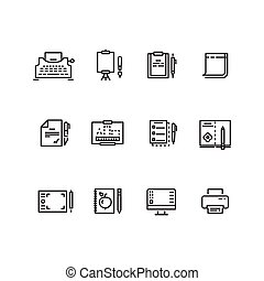Writing tools linear icons
