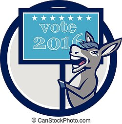 Vote 2016 Democrat Donkey Mascot Circle Cartoon -...