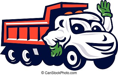 DumpTruck Waving Cartoon - Illustration of a dump truck...