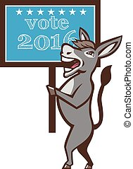 Vote 2016 Democrat Donkey Mascot Cartoon - Illustration of a...